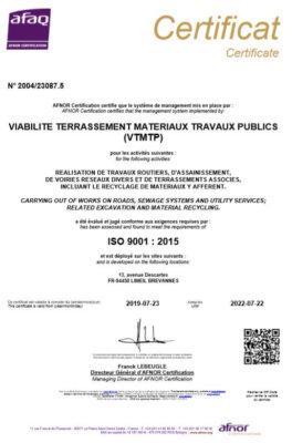 VTMTP Certificat AFNOR ISO 9001